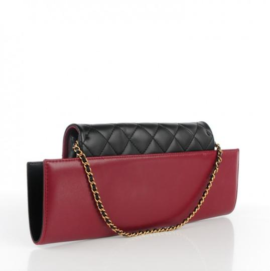 Chanel Flap Rare Burgundy & Black Clutch Image 4