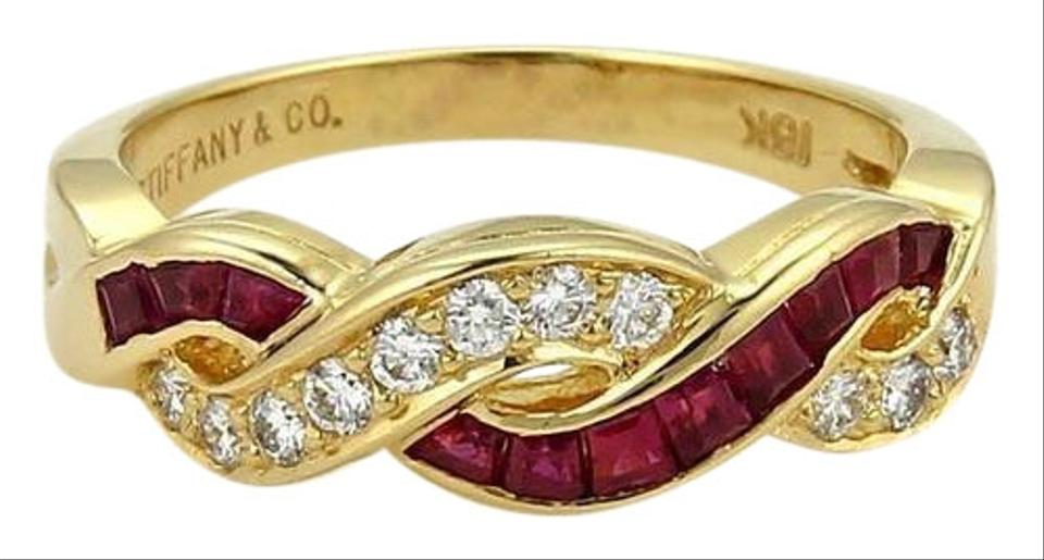 6c4bf95771b4e Tiffany & Co. Yellow Gold Red Ruby Diamond Infinity Style Band Size 6 Ring