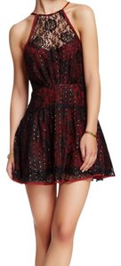 Free People Embellished Lace Halter Lined Dress