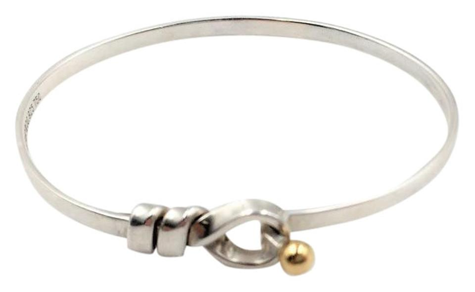 Tiffany Co Rare 18k Gold Silver Hook And Knot Bracelet 7q