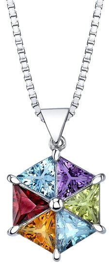 Preload https://img-static.tradesy.com/item/22346931/silver-multistone-geometric-pendant-necklace-0-1-540-540.jpg