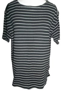Liz Claiborne T Shirt Black w/White Stripes
