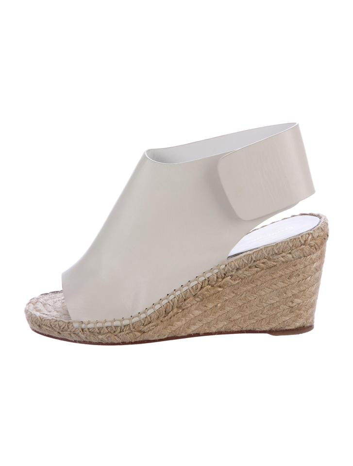 Céline White Phoebe Philo Wedge Collection Leather Espadrille Wedge Philo Sandals 291670