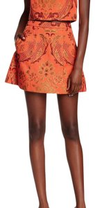 Alice + Olivia Great Condition Allover Pattern Mini Skirt orange