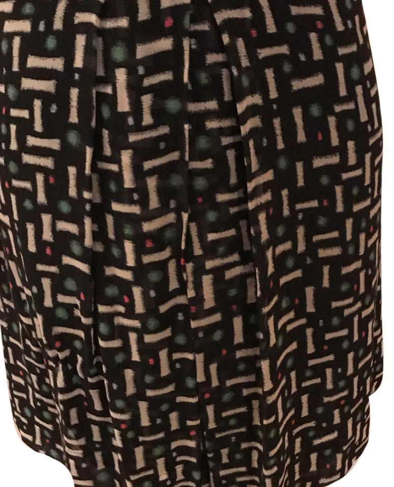 f28d195f42f475 Cacharel Green White Black Red Pleated Silk Skirt Size 12 (L
