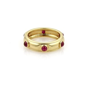 b55e19a28 Tiffany & Co. Cabochon Ruby 18k Yellow Gold Dome Band Ring Size 4.75
