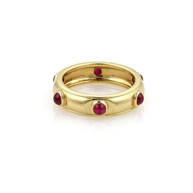 Item - Red Ruby Yellow Gold Cabochon 18k Dome Band Size 4.75 Ring