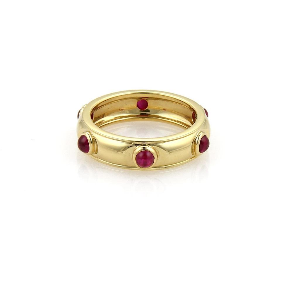 Tiffany Amp Co Red Ruby Yellow Gold Cabochon 18k Dome Band