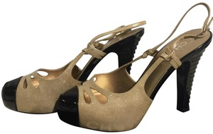 Chanel Gold Buckle Slingback Cut-out Silver Beige Pumps