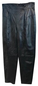 Michael Hoban Leather Straight Pants Black
