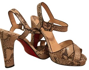Christian Louboutin Cream and brown python Platforms - item med img