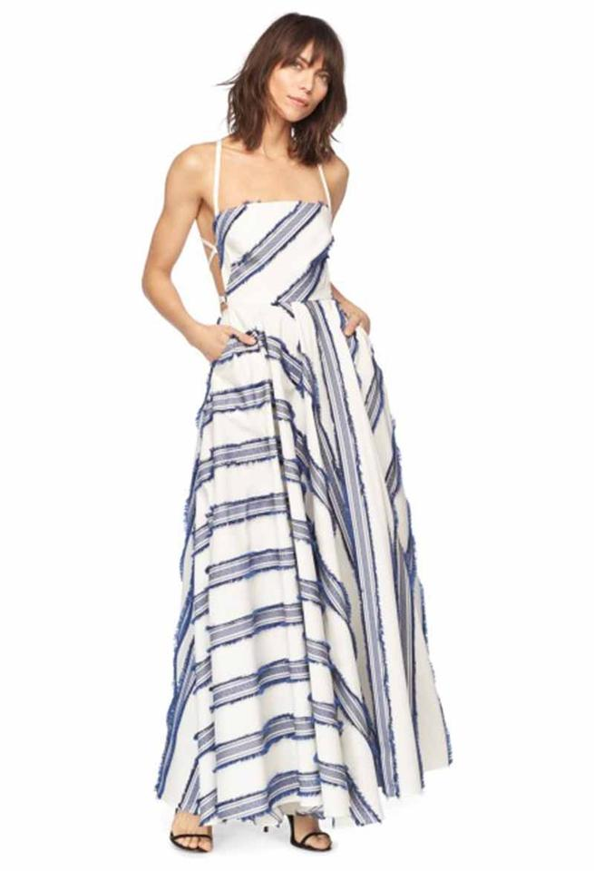 MILLY White and Navy Exclusive Diagonal Stripe Apron Long Formal ...