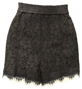 Diane von Furstenberg Lace Elastic Waist Scalloped Hem Lined Mini/Short Shorts Black