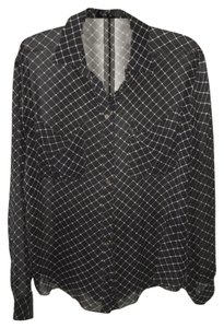 Club Monaco Silk Sheer Silk Button Black Work Button Down Shirt black/white