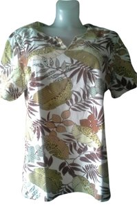 Alfred Dunner Leaf Foliage Top Brown