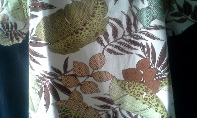 Alfred Dunner Leaf Foliage Print Green White Short Sleeve Cotton Top Brown