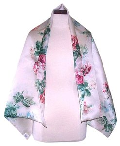 Edward Cromarty Art Design Studio Floral Shawl Natural with Roses. 100% Silk Satin Organza