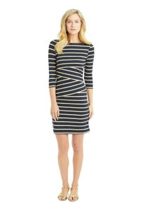 J. McLaughlin short dress Black and Beige Pullover Stripe 3/4 Sleeves Fitted on Tradesy