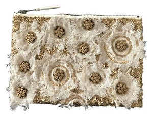 Anthropologie Sequin Beaded Cream / Gold Clutch
