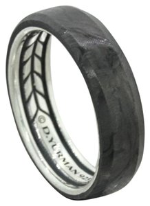 David Yurman 925 Solid Sterling Silver Black Forged Carbon 6mm Wedding Band Ring