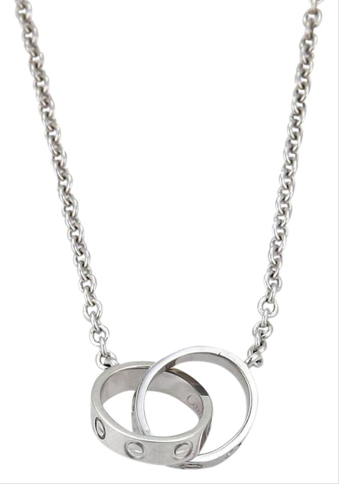 718ca8f55a3e2 Cartier White Gold Baby Love Infinity Double Mini Ring Pendant 18k Necklace
