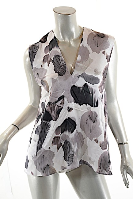 Helmut Lang Silk Top Black White Grey Image 2