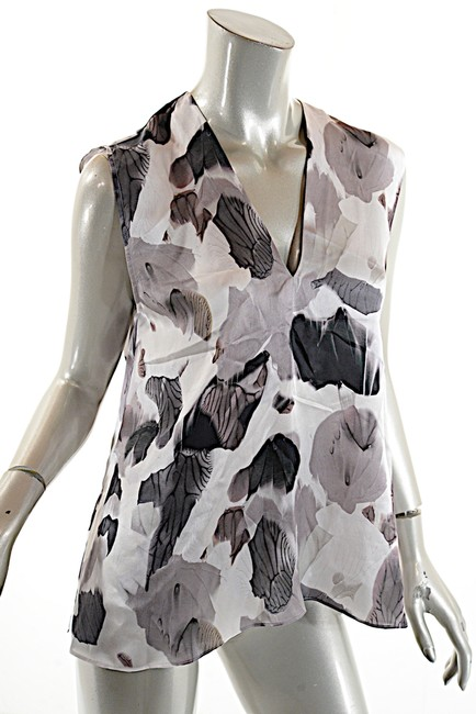 Helmut Lang Silk Top Black White Grey Image 4