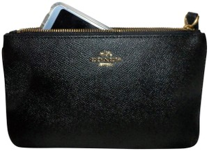 Coach Crossgrain Leather Gold Hardware Large Wristlet Black Clutch