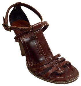 J. Crew Corsica Sandal Size 7 Leather Summer T Strap Made In Italy Brown Pumps