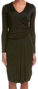 Basler short dress Black V Neck Long Sleeves Shirred Sides Blouson Bodice Pleated Skirt Area on Tradesy