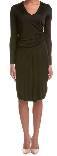 Basler short dress Black V Neck Long Sleeves Shirred Sides Blouson Bodice Pleated Skirt Area on Tradesy Image 1