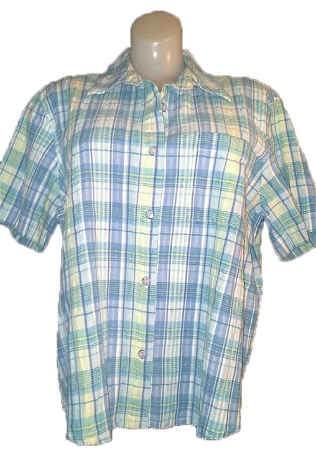 Alfred Dunner White Blue Stripes Short Sleeve Shear Sucker Cottom Button Down Shirt Green