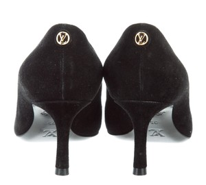 51b6d81ac9 Louis Vuitton Oh Really Gold Hardware Lv Lock Pointed Toe Suede Black, Gold  Pumps