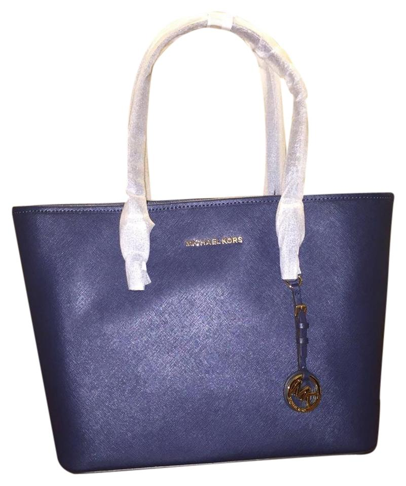 1fcb66fc35958f MICHAEL Michael Kors Jet Set Travel Top Zip Navy Saffiano Leather Tote