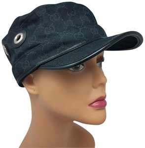 Gucci Black canvas Gucci Guccissima monogram cap hat L