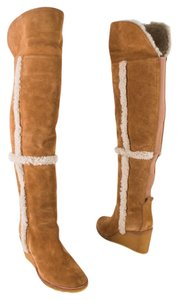 Tory Burch Shearling Suede Over The Knee Wedge Cinnamon Boots