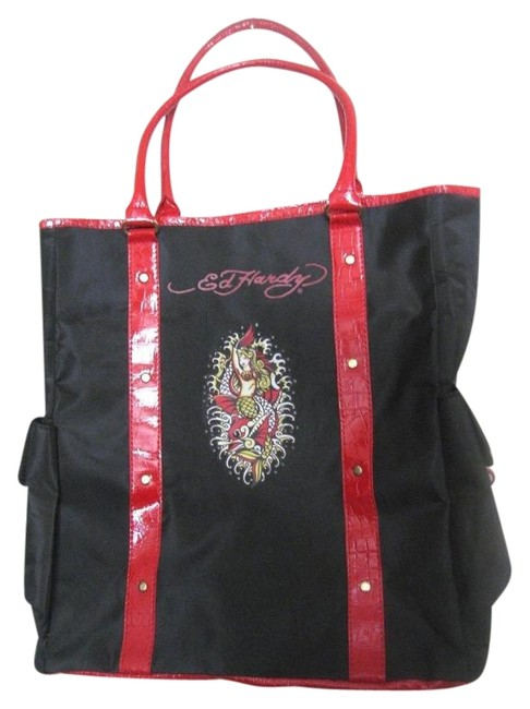 Item - Shoulder Bag Ed Hardy Mermaid Purse Black/ Multi Colored Accents Canvas Leather Trim Tote