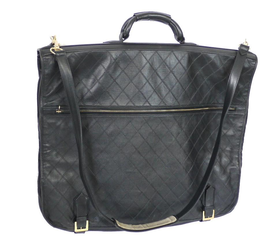 a8e7c94dff0f Chanel Rare Vintage Lambskin Quilted Garment Cover 2way Black ...