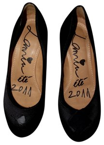 Lanvin Ete 2011 Leather Broken Fixer Upper Size 6.5 Size 7 Designer Event Classy Elegant Black Formal