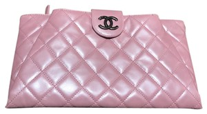 Chanel Exclusive Elegant Quilted Sold Out Collection Pink Clutch