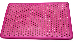 Christian Louboutin Studded Edgy Clutch/Chain Very Practical Size Head Turner Indian Rose Clutch