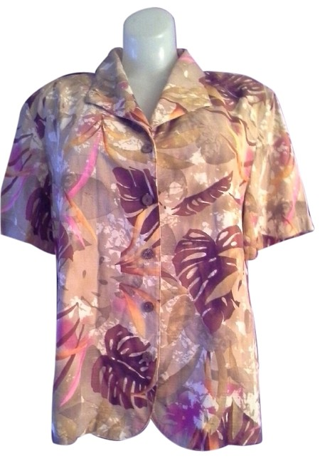 Alfred Dunner Palm Leafs Print Short Sleeves Rayon Button Down Shirt Brown