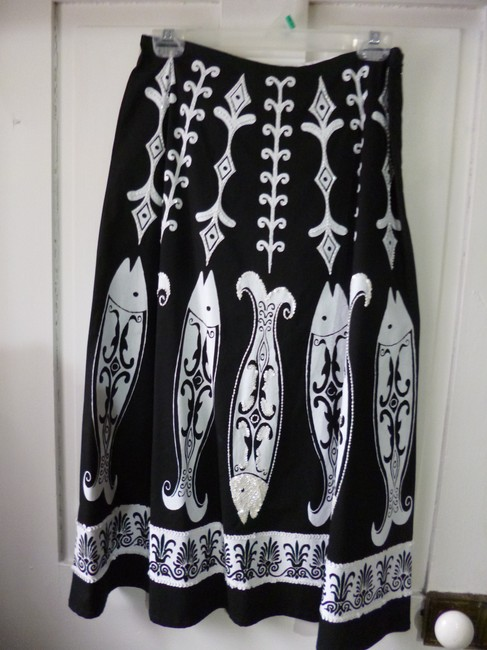Soft Surroundings Stunning Handpainted Handcrafted Dramatic Evening Party Glamour Full Skirt Black and white