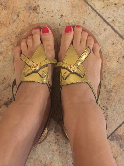 Coach Gold leather with gold hardware Sandals Image 1