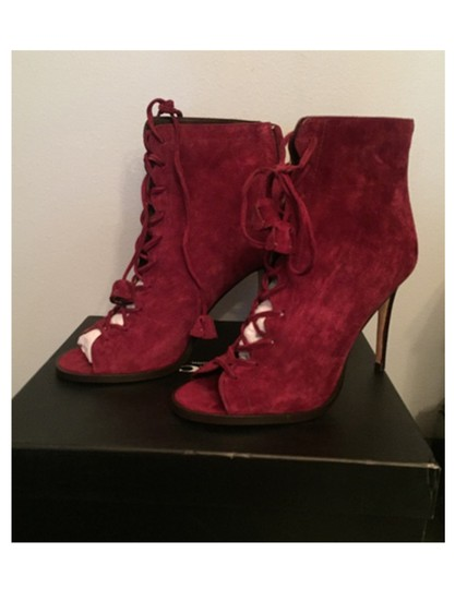 Coach Suede Peep Toe Red Boots Image 1
