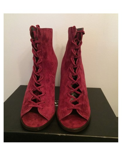 Coach Suede Peep Toe Red Boots Image 2