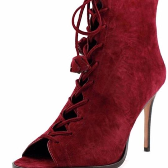 Coach Suede Peep Toe Red Boots Image 3