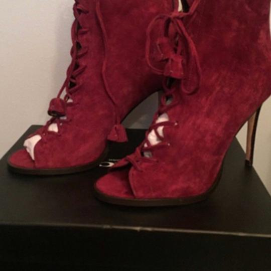 Coach Suede Peep Toe Red Boots Image 4
