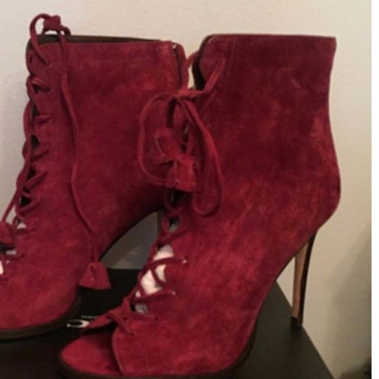 Coach Suede Peep Toe Red Boots Image 6