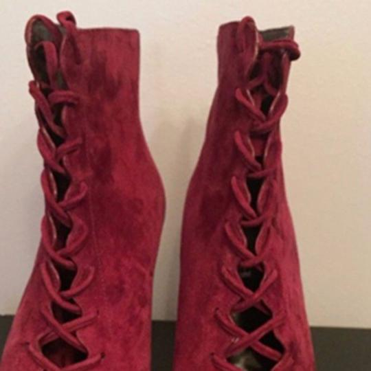 Coach Suede Peep Toe Red Boots Image 7